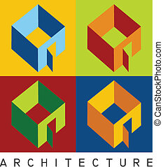 Housing models in high contrast - Colorful illustration of...