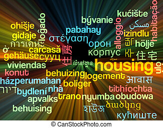 Housing multilanguage wordcloud background concept glowing