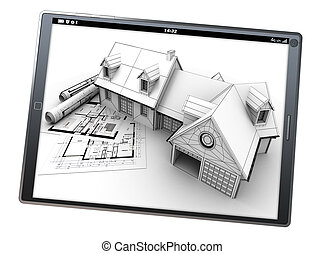 Housing project app - 3D rendering of a tablet pc with a...