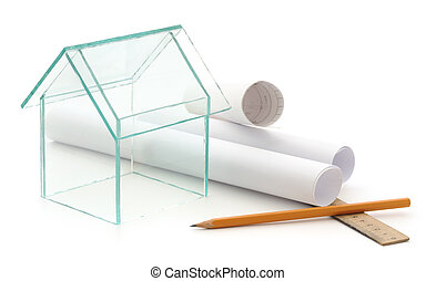 Housing project - Glass house isolated on a white background
