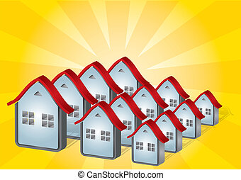 Housing - real estate concept with abstract house...