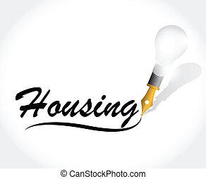 housing sign message illustration design