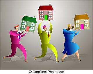 housing team - team of real estate people selling houses -...