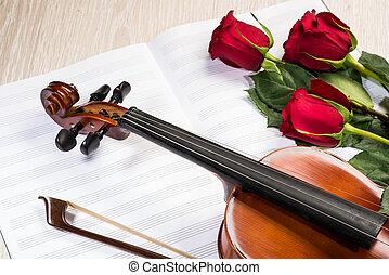 housle, růže, a, hudba, zamluvit