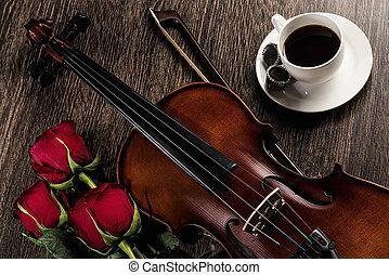 housle, růže, zrnková káva, a, hudba, zamluvit