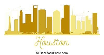 houston γραμμή ορίζοντα , χρυσαφένιος , πόλη , silhouette.