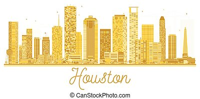 houston , η π α , πόλη , χρυσαφένιος , silhouette., γραμμή ορίζοντα