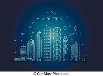 houston, 合併した, 線である, 都市, イラスト, 州, ベクトル, スカイライン, テキサス, style.
