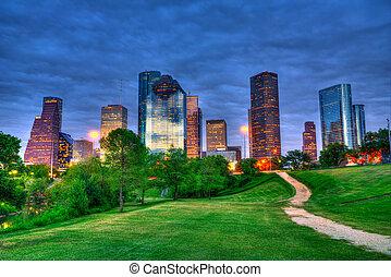 houston, 텍사스, 현대, 지평선, 에, 일몰, 황혼, 에서, 공원