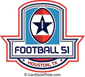 Houston American Football 51 Big Game Stars Crest Retro