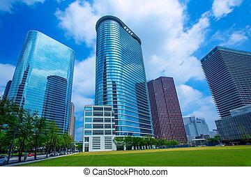 houston, belvárosi, felhőkarcoló, disctict, kék ég, tükör