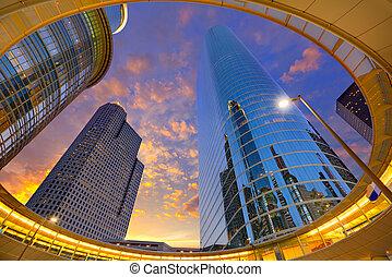 houston centro, ocaso, rascacielos, tejas