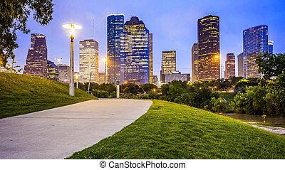 Houston City Skyline at Night From Eleanor Tinsley Park