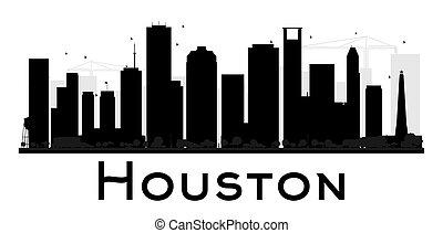 Houston City skyline black and white silhouette.