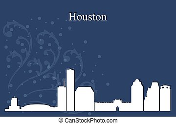 Houston city skyline silhouette on blue background