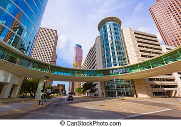 Houston cityscape Bell and Smith St in Texas US - Houston...