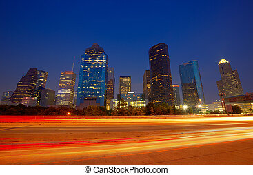 houston, dämmerung, stadtzentrum, skyline, sonnenuntergang, texas