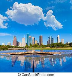 houston, denkmal, reflexion, uns, skyline, texas