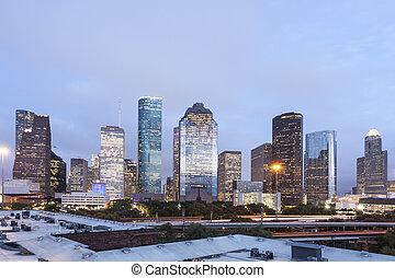 Houston downtown at night, Texas
