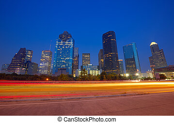 Houston downtown skyline at sunset dusk Texas - Houston ...