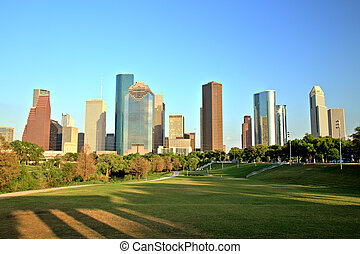 Houston Downtown Skyline at Sunset