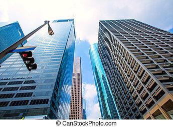 Houston downtown skyscrapers disctict blue sky mirror -...