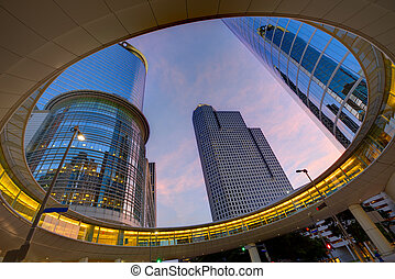 Houston Downtown sunset skyscrapers Texas - Houston Downtown...