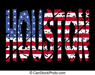 houston, drapeau, texte