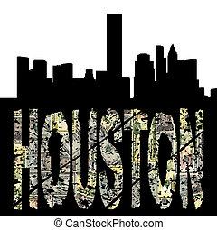 Houston grunge text with skyline