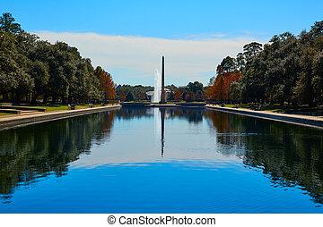 Houston Hermann park Pioneer memorial obelisk