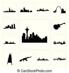 houston, jogo, imagem, cavalete, seattle, cidade, ícones, longo, fundo, branca, skyline, valor, pittsburgh, kansas, les, pintor, forte, ilha, ak47, skyline, paul