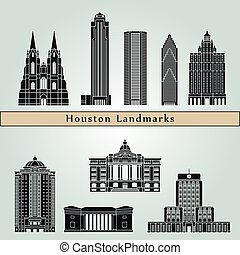 Houston landmarks and monuments isolated on blue background...