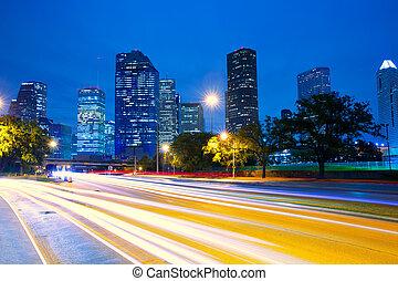 houston, lumières, horizon, trafic, coucher soleil, texas