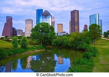 houston, modern, park, skyline, fluß, texas