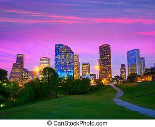 houston, modernos, parque, skyline, pôr do sol, crepúsculo, ...