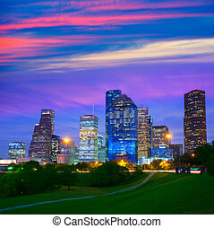 houston, modernos, parque, skyline, pôr do sol, crepúsculo,...