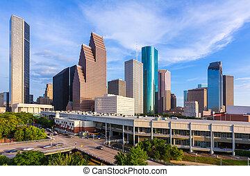 houston, noorden, ons, skyline, texas, aanzicht