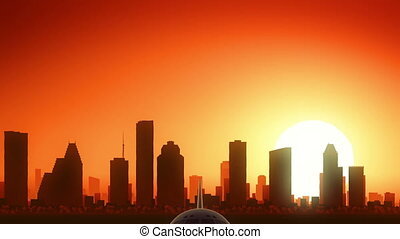 houston, od, usa, sylwetka na tle nieba, texas, ameryka, wschód słońca, wziąć