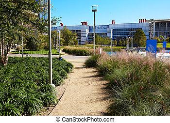 houston, opdagelse, grønnes parker, ind, downtown