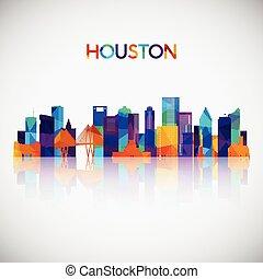 houston, silhouette, bunte, skyline, geometrisch, style.
