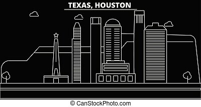 Houston silhouette skyline. USA - Houston vector city, american linear architecture, buildings. Houston travel illustration, outline landmarks. USA flat icon, american line banner