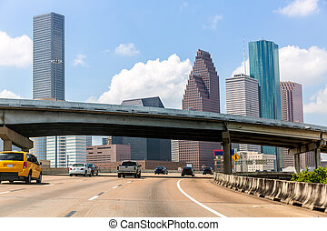 Houston skyline at Gulf Freeway I-45 Texas US - Houston...