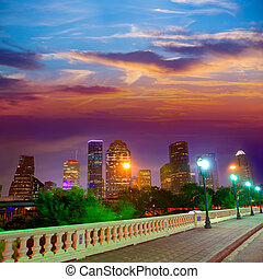 Houston skyline at sunset  Sabine St Texas USA