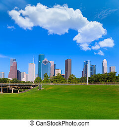 Houston skyline blue sky Memorial park Texas US - Houston ...