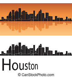 Houston skyline in orange background in editable vector file