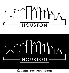 Houston skyline. Linear style.