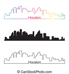Houston skyline linear style with rainbow in editable vector...