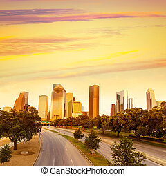 Houston skyline sunset from Allen Pkwy Texas US - Houston...