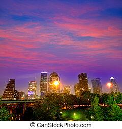 Houston skyline west view sunset Texas US - Houston skyline ...