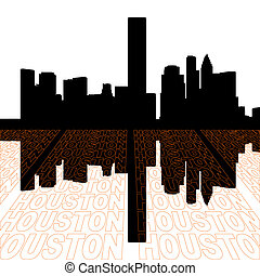 Houston skyline with perspective text outline foreground